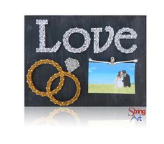 DIY String Art Kit - Picture Frame, Love String Art, Wedding Rings, Wedding Decor, Wedding Gift, Engagement Gift Ideas, w/ all supplies