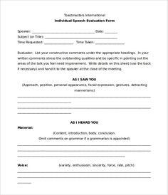 Form toastmasters feedback Officer Forms