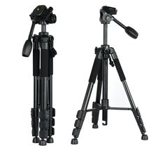 S-55 Camera Tripod,RIEPOR Aluminum Lightweight Camera Tripods with Rocker Arm Ball Head and Carry Case for Canon Nikon Sony SLR Camera or Video (Black)