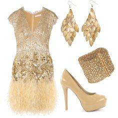 evening outfit - gold dress and accessories