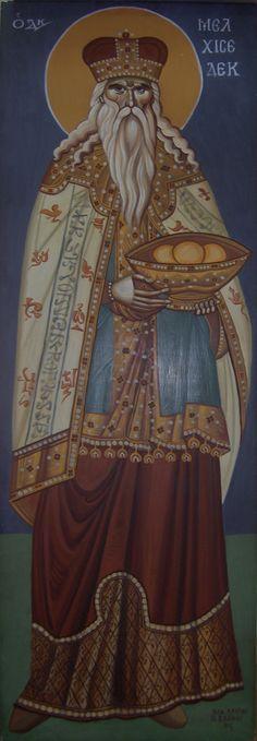 Prophet Melchizedek, Byzantine Greek Macedonian School of Emmanouil Panselinos, original mural painting in Mount Athos, Greece size c. 140 x 60 cm