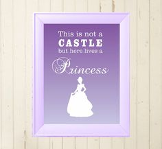 Cinderella princess printable poster Children child little girls room wall decor lilac design digital file download A4 print at home on Etsy, $5.00