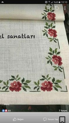 This Pin was discovered by Ser Cross Stitch Fruit, Cross Stitch Heart, Cross Stitch Borders, Cross Stitch Flowers, Modern Cross Stitch, Cross Stitch Designs, Cross Stitching, Cross Stitch Embroidery, Hand Embroidery