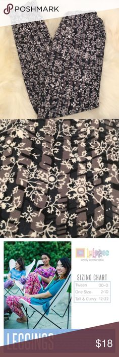🆕 Lularoe Leggings OS Lularoe Leggings Black Gray White Flower Print. Like New One Size Fits 0-12 LuLaRoe Pants Leggings