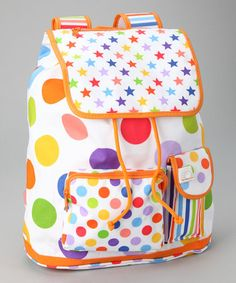 White Zany Dots Backpack from LittleMissMatched on #zulily