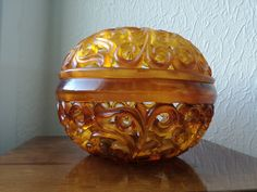 Items similar to Maximalistic Large Decorative Amber Bowl Vintage Unique Decoration Handcarved Orange Bowl on Etsy Unique Vintage, Etsy Vintage, Vintage Items, Orange Bowl, Vintage Bowls, Closer To Nature, Amber Color, Color Shades, Warm Colors