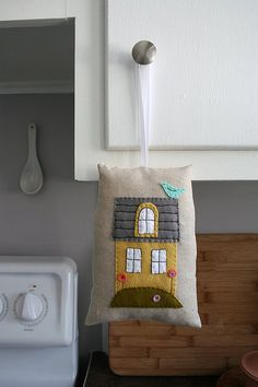 "fabric and felt little house ornament ""pillow"""