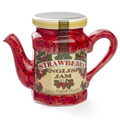Strawberry jam teapot - perfect for tea and toast. Chocolate Pots, Chocolate Coffee, Strawberry Kitchen, Strawberry Jam, The Tremeloes, Teapots Unique, Cafetiere, Tea Pot Set, Teapots And Cups