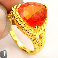 6.19cts ORANGE RAINBOW TOPAZ 14K GOLD 925 STERLING SILVER RING SIZE 7 D18819 #jewelexi #RING