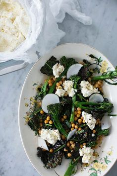 Roasted Broccoli, Kale and Chickpeas with Ricotta  | Sunday Suppers.