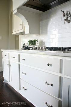 restoration hardware aubrey pulls polished nickel white subway tile kitchen hardwarecabinet - Restoration Hardware Kitchen Cabinet Pulls