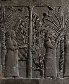 Nineveh Palace. A harpist in Sennacherib's gardens. Stone bas-relief, 7th c. BC, Mesopotamia. British Museum