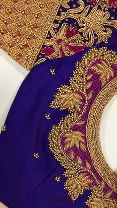 Hand embroidery Which Wedding Favour? The dress has been ordered, your future husband is actually ge Saree Jacket Designs, Cutwork Blouse Designs, Wedding Saree Blouse Designs, Simple Blouse Designs, Embroidery Neck Designs, Stylish Blouse Design, Blouse Neck Designs, Embroidery Stitches, Hand Embroidery