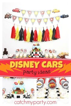 Creations's Birthday / Cars (Disney movie) - Cars Birthday Party at Catch My Party Disney Cars Party, Disney Cars Birthday, Car Themed Parties, Cars Birthday Parties, License Plate Crafts, Party Themes, Party Ideas, Party Activities, The Incredibles