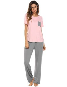 f416a2b082 Women s Short Sleeve Shirt and Long Pajama Pants Sleepwear Set(S-XXL) -  Pink2 - CA18C0UG476. NightgownPajamas WomenScoop NeckFashion ...