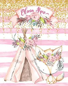 32 Ideas Baby Nursery Boho Pink For 2019 Nursery Art, Girl Nursery, Boy Decor, Wall Decor, Watercolor Fox, Baby Shower Invitaciones, Beautiful Baby Girl, Images, Wall Art