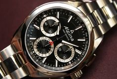 "The Alpina Watxhes Manufcature Flyback Chronograph with in-house patented automatic flyback chronograph movement with ""direct flyback"" technology Wristwatches, Omega Watch, Chronograph, Hands, Technology, House, Tech, Home, Haus"