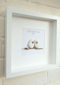 Pebble picture pebble art love owls birds owl gift idea home decor handmade