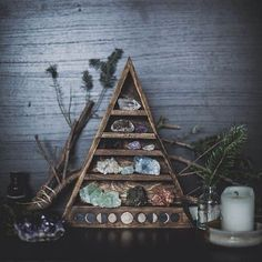 moon phase carved triangle shelf