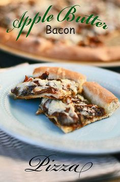 apple butter bacon pizza---I will be substituting Pita Flatbread for the pizza shell. The flatbread fits pretty good on the grill pan. Apple Recipes, Pizza Recipes, Yummy Recipes, Dinner Recipes, Bacon Pizza, Pizza Pizza, Bacon Bacon, Sweet Pizza, Pizza