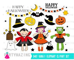 Cute Halloween Clipart Set  Trick or Treat Digital by Partymazing