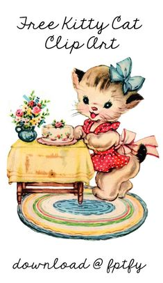 Free Vintage Kitty Cat Clip Art - Tap the link now to see all of our cool cat collections!
