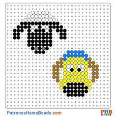 Shaun y Bitzer plantilla hama bead. Descarga una amplia gama de patrones en formato PDF en www.patroneshamabeads.com