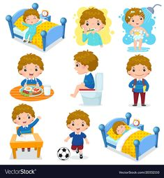 Daily routine activities for kids with cute boy. Illustration of daily routine a , Daily Routine Chart For Kids, Daily Routine Activities, Charts For Kids, Everyday Activities, Daily Routines, Daily Routine Worksheet, Flashcards For Kids, Worksheets For Kids, Homeschool Worksheets