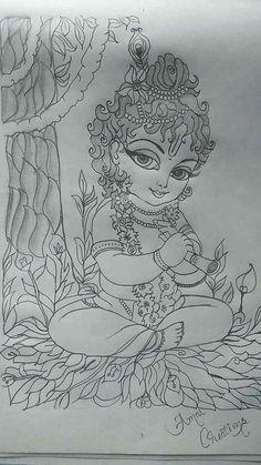 Abstract Pencil Drawings, Art Drawings Sketches Simple, Girl Drawing Sketches, Girly Drawings, Sketch Painting, Indian Art Paintings, Krishna Painting, Krishna Art, Mandala Art
