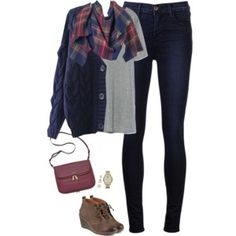 Knit cardigan, plaid blanket scarf and wedge boots