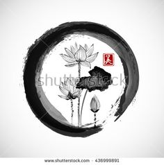 Lotus flowers in black enso zen circle. Traditional Japanese ink painting sumi-e. Contains hieroglyph - beauty