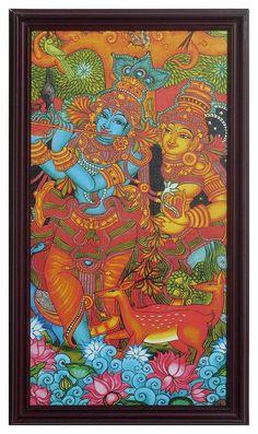Radha Krishna - Wall Hanging - Reprints of Temple Murals (Print on Laminated Board - Framed) Pichwai Paintings, Indian Art Paintings, Kerala Mural Painting, Madhubani Painting, Indian Traditional Paintings, Ganesha Painting, Ganesha Art, Madhubani Art, Indian Folk Art