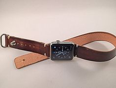Double rap Apple watch strap - Handmade Herman Oak leather strap with adapter