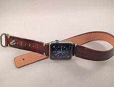 Double rap Apple watch strap - Handmade Herman Oak leather strap with adapter