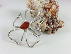 Sea Glass Ring, Sea Glass Flower Ring, Orange, Beach Jewelry, Beach Glass Jewelry, Surfer Jewelry, Flower, Flower RIng, Hippie Jewelry