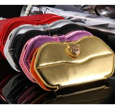 iPhone 6 Plus, 6 - Kiss-Me Chain Strap, Shiny Wallet Case in Assorted Colors