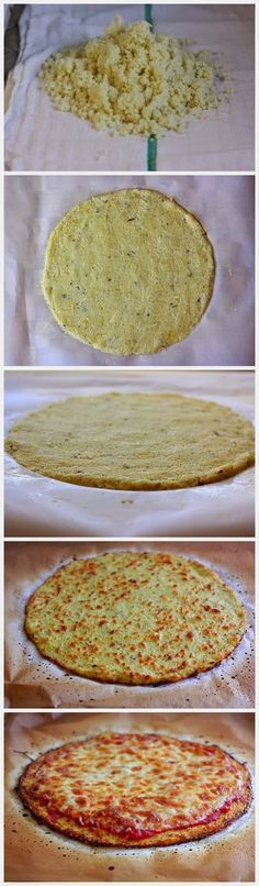 The BEST Cauliflower Crust Pizza! - eatagreatdeal....  Next time, need to get more water out so crust is crispy.