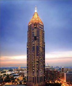 The Bank of America Tower, Atlanta. Its hollow girdered top makes it the 30th tallest building in the world. The obelisk at the peak covered in 23k gold leaf. Tallest US Building not in NYC or Chicago. This was next door to my office in Atlanta.