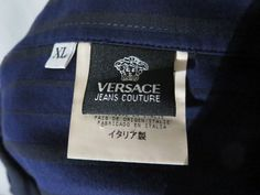 Versace Jeans Couture Mens Shirt  XL Pullover Blue Black Striped #GianniVersace #ButtonFront
