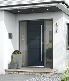 Tigris Extreme external door - JB Kind - also look at step/plant pots/downlights and sofit colour - May 04 2019 at Modern Entrance Door, Modern Exterior Doors, Modern Front Door, Front Door Design, House Entrance, Entrance Doors, Porch Doors Uk, Modern Door Design, Modern Porch