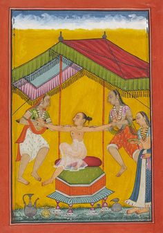 Tailingi Ragini, Wife of Hindola massaged with oil. Bilaspur or Chamba, India ca. 1700 opaque pigments and gold on paper. Mughal Paintings, India Art, Indian Artist, Central Asia, Asian Art, Folk Art, Medieval, Miniatures, Exercise