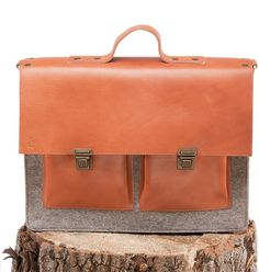Le Professeur - Felt and Leather - CANTIN - Permanent collection #fashion #montreal #handmade  #bags