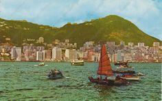 1960s Hong Kong Beautiful Victoria Harbour Vintage Photo Postcard