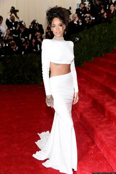 Rihanna goes edgy in a white crop top at the Met Gala.