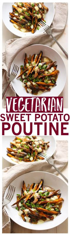 Classic poutine with healthy oven-baked sweet potato fries and vegetarian onion gravy!