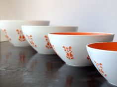 MidCentury Modern Orange Nesting Bowls Set by veranellies on Etsy