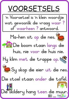 Printable Preschool Worksheets, 1st Grade Worksheets, Preschool Learning, Teaching, Afrikaans Language, Phonics Chart, English Grammar Worksheets, School Motivation, Classroom Posters