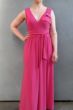 LEONA EDMISTON FROCKS 'Emily' dress Size 1 / 10 / 12 pink jersey maxi formal