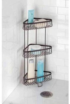 Bathroom Corner Shelf, Corner Shower Caddy, Corner Storage Shelves, Lotion, Standing Shower, Shower Shelves, Shower Accessories, Bronze, Bathroom Essentials