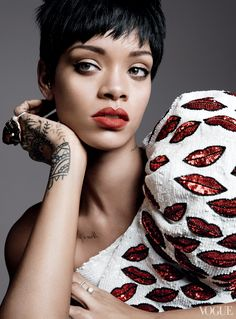 """""""I+never+wanted+to+be+famous,""""+says+Rihanna.+""""I+just+wanted+my+music+to+be+heard+all+over+the+world.""""+Saint+Laurent+by+Hedi+Slimane+sequined+one-shoulder+top.+Far+left:+Cécile+zu+Hohenlohe+ring.Fashion+Editor:+Tonne+Goodman"""